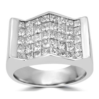 Noori Men's 14k White Gold 3 3/5ct Princess Cut Diamond Ring (J-K, I1-I2)