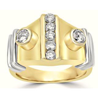 Noori 14k Yellow and White Gold Diamond Men's Pinky Ring