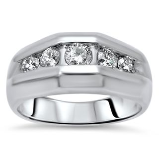 Noori 14k White Gold Men's 3/5ct TDW Diamond Wedding Band (H-I, SI1-I1)