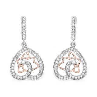 Olivia Leone 14k White and Rose Gold 3/4ct TDW White Diamond Earrings (G-H, SI1-SI2)