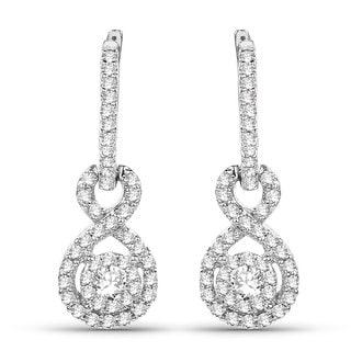 Olivia Leone 14k White Gold 1/2ct TDW White Diamond Long Earrings (G-H, SI1-SI2)
