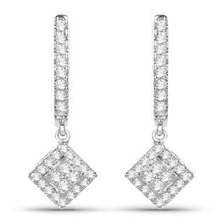 Olivia Leone 14k White Gold 2/5ct TDW White Diamond Square Earrings (G-H, SI1-SI2)