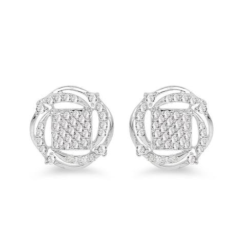 Olivia Leone 14k White Gold 3/4ct TDW White Diamond Round Earrings
