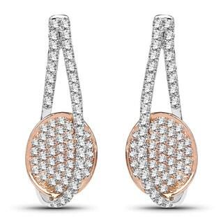 Olivia Leone 14k White and Rose Gold 5/8ct TDW White Diamond Earrings (G-H, SI1-SI2)