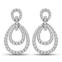 Olivia Leone 14k White Gold 4/5ct TDW Large Diamond Dual Loop Earrings - White G-H