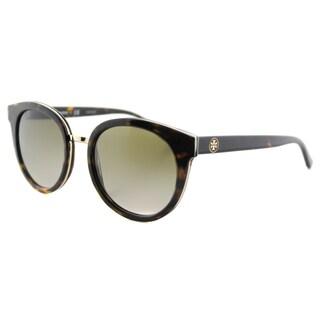 Tory Burch TY 7062 51013 Panama Tortoise Plastic Round Brown Gradient Lens Sunglasses