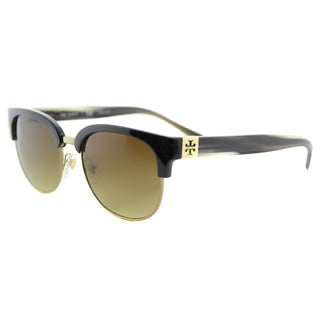 Tory Burch TY 9047 160613 Black Olive Horn Plastic Square Brown Gradient Lens Sunglasses