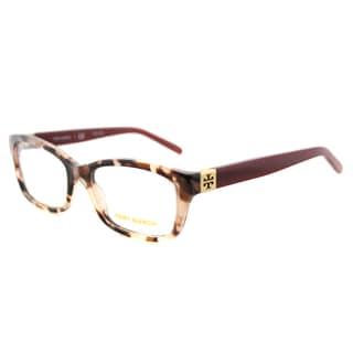 Tory Burch Blush Tortoise Plastic Milky Cabernet Rectangle Eyeglasses