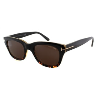 Tom Ford TF 237 05J Snowdon Black Havana Plastic Rectangle Brown Lens Sunglasses