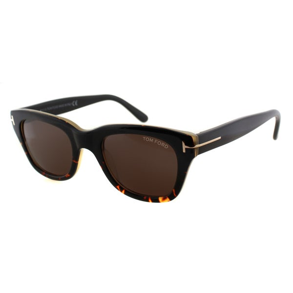 c3837a45e97 Tom Ford TF 237 05J Snowdon Black Havana Plastic Rectangle Brown Lens  Sunglasses