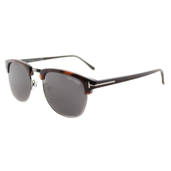 27ce53a6e1 Tom Ford TF 248 52A Henry Vintage Dark Havana Plastic Fashion Grey Lens  53mm Sunglasses