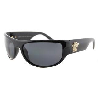 Versace VE 4276 GB0.1257 Black Plastic Wrap Grey Polarized Lens Sunglasses