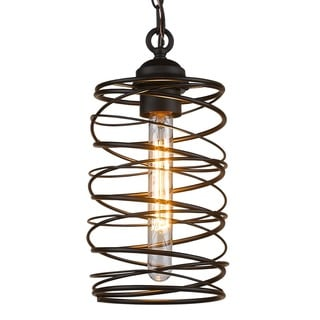 Cylinder Wire Cage Pendant Lamp With Frosted Glass