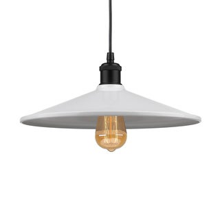 Modern Style Pendent Light with White Metal Shade