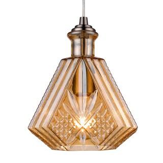 Flexible Pair Flower Carved Amber Glass Mini Pendant (Bonus LED bulb Is Included until 10/31/2016)