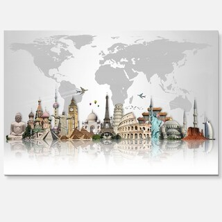Famous Monuments Across World - Art Glossy Metal Wall Art