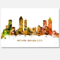 Atlanta Georgia Skyline - Cityscape Painting Glossy Metal Wall Art