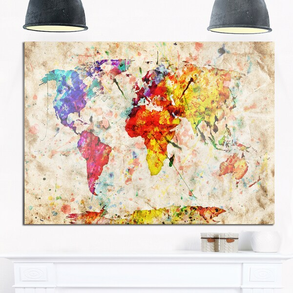 Shop vintage world map watercolor maps painting glossy metal wall vintage world map watercolor maps painting glossy metal wall art gumiabroncs Image collections