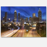 Atlanta Skyline Twilight Blue Hour - Cityscape Glossy Metal Wall Art