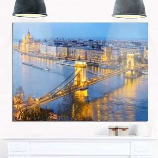 Chain Building and Parliament in Budapest - Cityscape Glossy Metal Wall Art