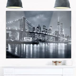 Panorama New York City at Night - Cityscape Glossy Metal Wall Art