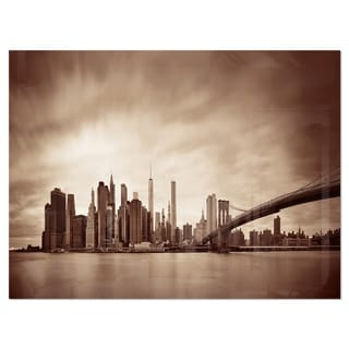 Link to Manhattan Financial District - Cityscape Glossy Metal Wall Art Similar Items in Metal Art