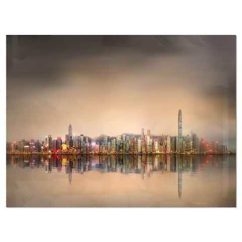 Singapore Financial District Skyscrapers - Cityscape Glossy Metal Wall Art