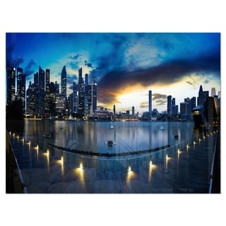 View from Marina Bay Sands Panorama - Cityscape Glossy Metal Wall Art