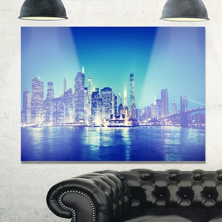 Blue New York City at Night Panorama - Cityscape Glossy Metal Wall Art