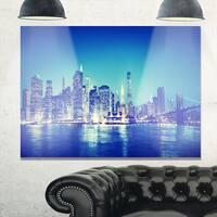 Blue New York City at Night Panorama - Cityscape Glossy Metal Wall Art