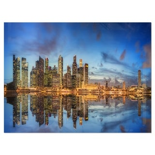 Link to Singapore Skyline and View of Marina Bay - Cityscape Glossy Metal Wall Art Similar Items in Metal Art