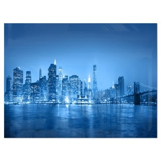 Blue Panorama of New York City - Cityscape Glossy Metal Wall Art