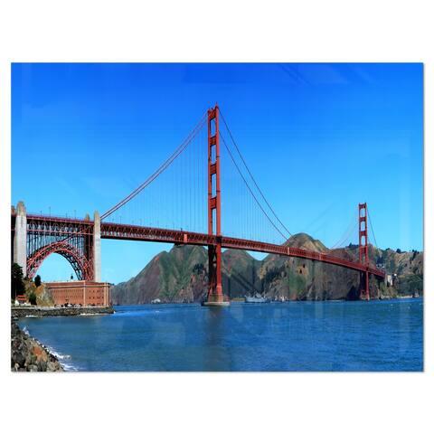 Golden Gate Bridge under Blue Sky - Cityscape Glossy Metal Wall Art