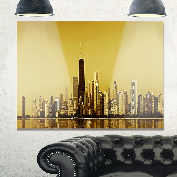 Chicago Gold Coast with Skyscrapers - Cityscape Glossy Metal Wall ...