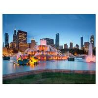 Colorful Buckingham Fountain - Cityscape Glossy Metal Wall Art