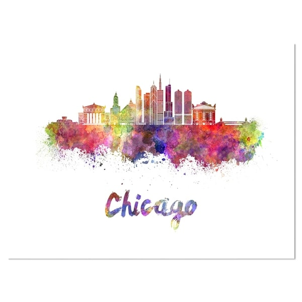 Colorful Chicago Skyline in Watercolor - Cityscape Glossy Metal Wall Art. Opens flyout.