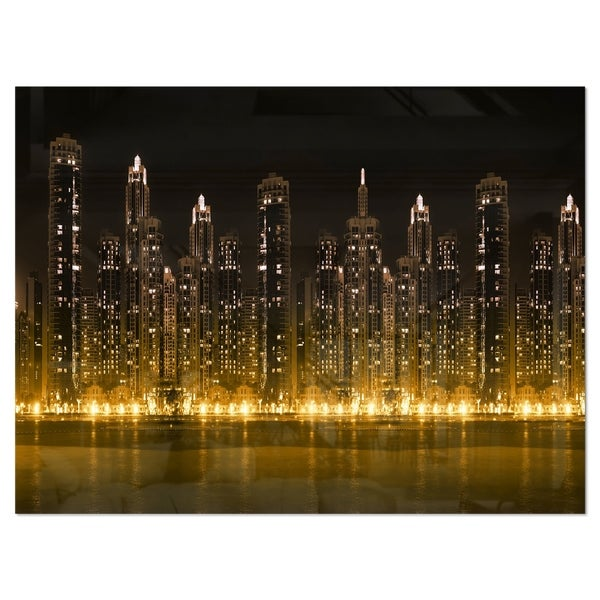 Modern City with Illuminated Skyscrapers - Cityscape Glossy Metal Wall Art. Opens flyout.