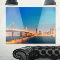 Illuminated San Francisco Skyline - Cityscape Glossy Metal Wall Art