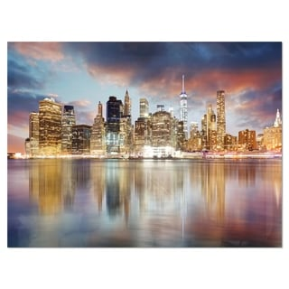 New York Skyline at Sunrise with Reflection. - Cityscape Glossy Metal Wall Art