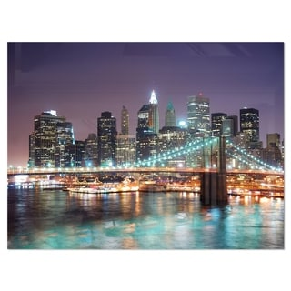 New York City Manhattan Skyscrapers - Cityscape Glossy Metal Wall Art