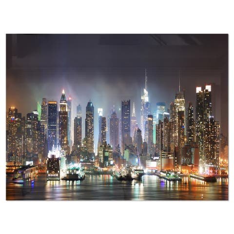 New York Times Square in Blue Light - Cityscape Glossy Metal Wall Art
