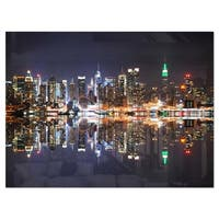 New York City Skyscrapers in Blue Shade - Cityscape Glossy Metal Wall Art