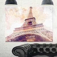 Paris Eiffel Tower Paris Postcard Design - Cityscape Glossy Metal Wall Art
