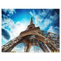 Beautiful Paris Eiffel Tower under Blue Sky - Cityscape Glossy Metal Wall Art
