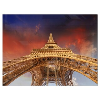 Beautiful View of Paris Eiffel Tower under Red Sky - Cityscape Glossy Metal Wall Art
