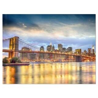 Link to Brooklyn Bridge with Night Illumination - Cityscape Glossy Metal Wall Art Similar Items in Metal Art