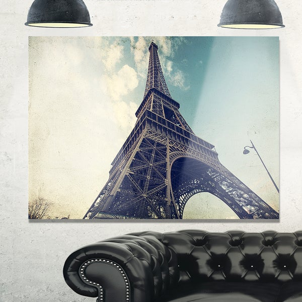 Shop Paris Eiffel Tower Vintage View from Ground - Cityscape Glossy ...