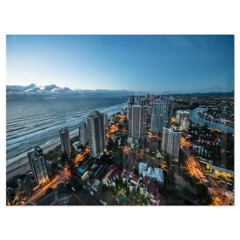 Brisbane Skyscrapers and Sea Aerial View - Cityscape Glossy Metal Wall Art