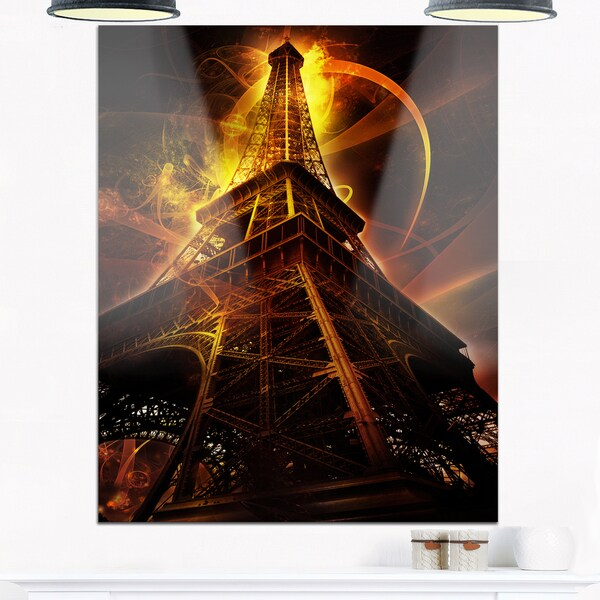Paris Eiffel Tower on Fantasy Background - Cityscape Glossy Metal Wall Art