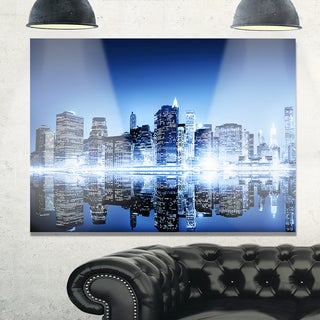 Night New York City Mirrored - Cityscape Glossy Metal Wall Art